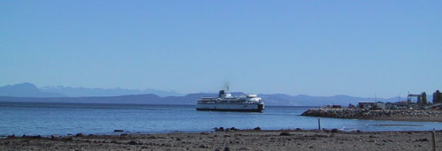 View of BC Ferry seen from our Comox bed and breakfast
